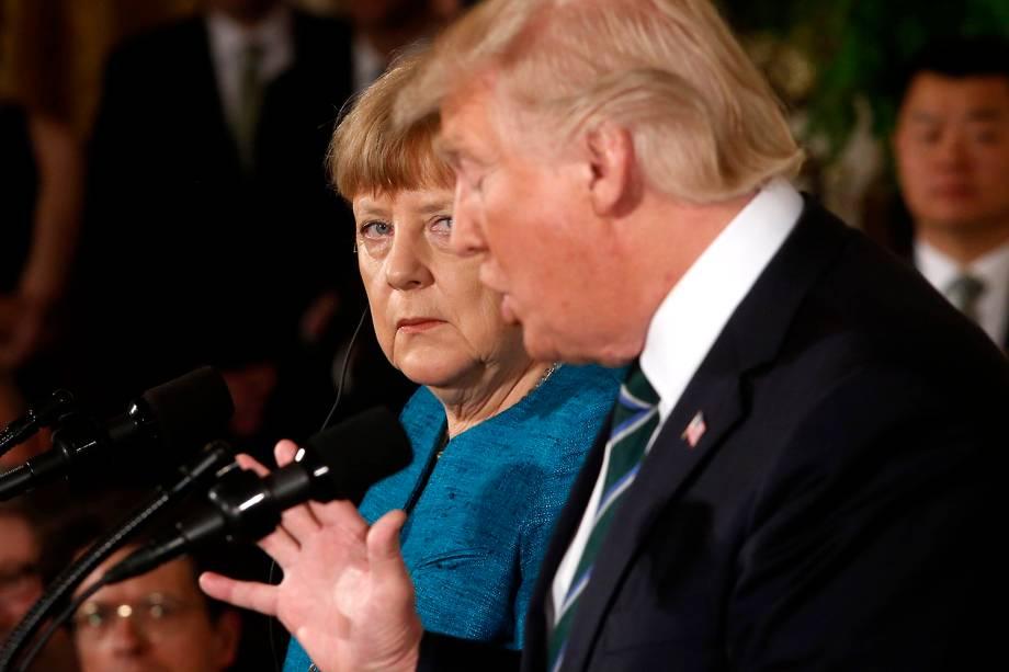 O presidente dos Estados Unidos, Donald Trump, e a chanceller da Alemanha, Angela Merkel, em conferência na Casa Branca, em Washington, D.C. - 17/03/2017