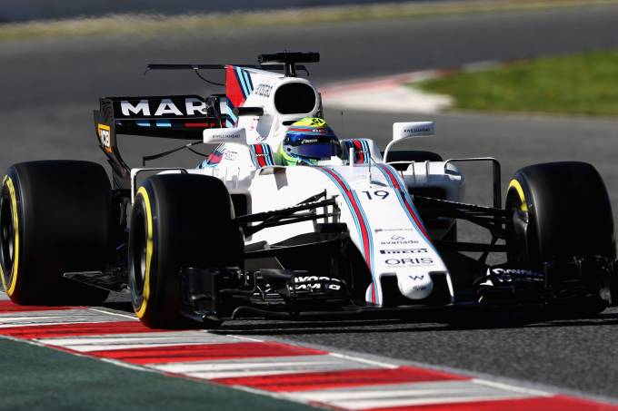Felipe Massa durante testes da Williams em Barcelona