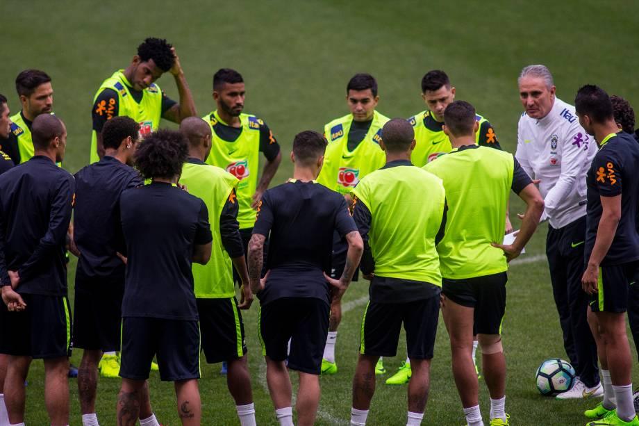 Seleção brasileira treina no Itaquerão antes da partida contra o Paraguai, válida pela 14ª rodada das Eliminatórias para Copa do Mundo da Rússia - 27/03/2017