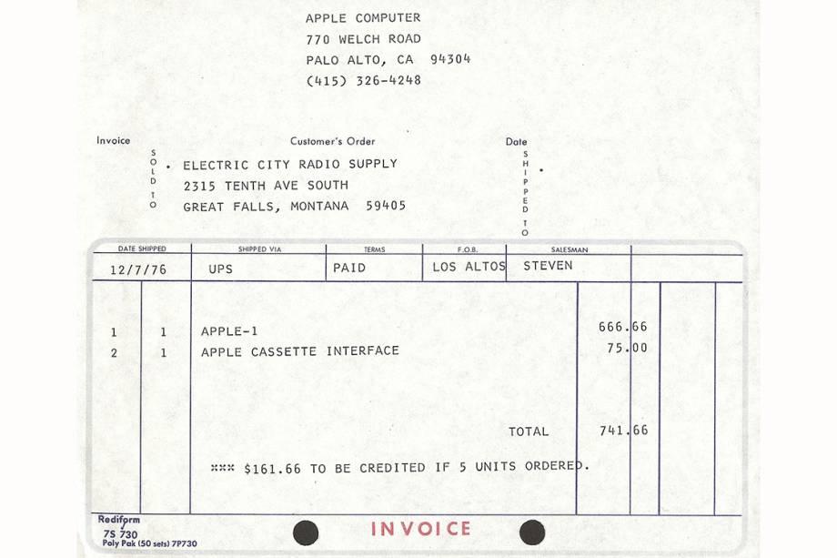 Primeira nota fiscal do Apple-1