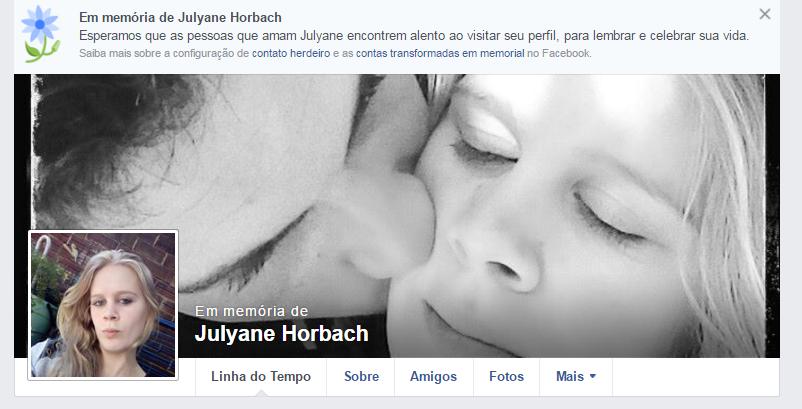 Página de Julyane Horbach  transformada em memorial