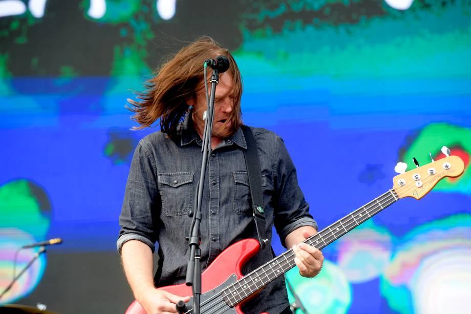 Rick Burch, da banda Jimmy Eat World, se apresenta na sexta edição do festival Lollapalooza, no Autódromo de Interlagos, São Paulo