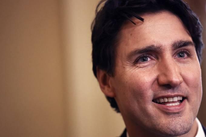 O primeiro-ministro canadense, Justin Trudeau, durante encontro com senador americano, Mitch McConnell