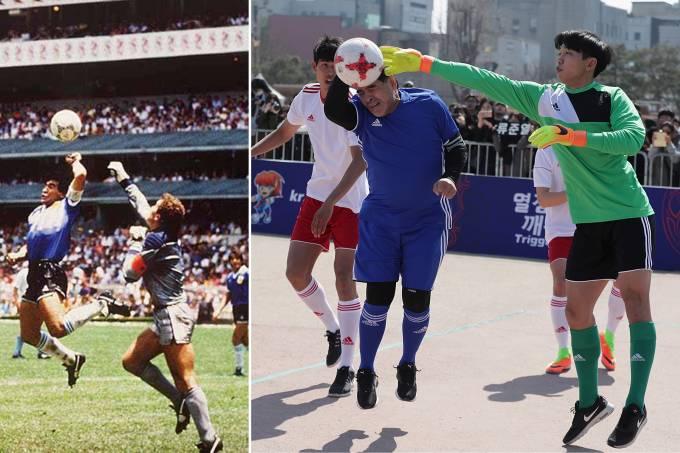Maradona tenta repetir 'Mão de Deus'