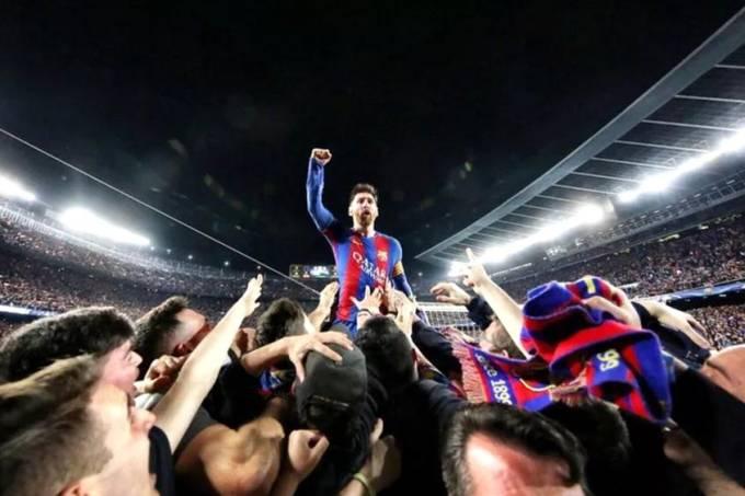Lionel Messi celebra virada sobre o PSG