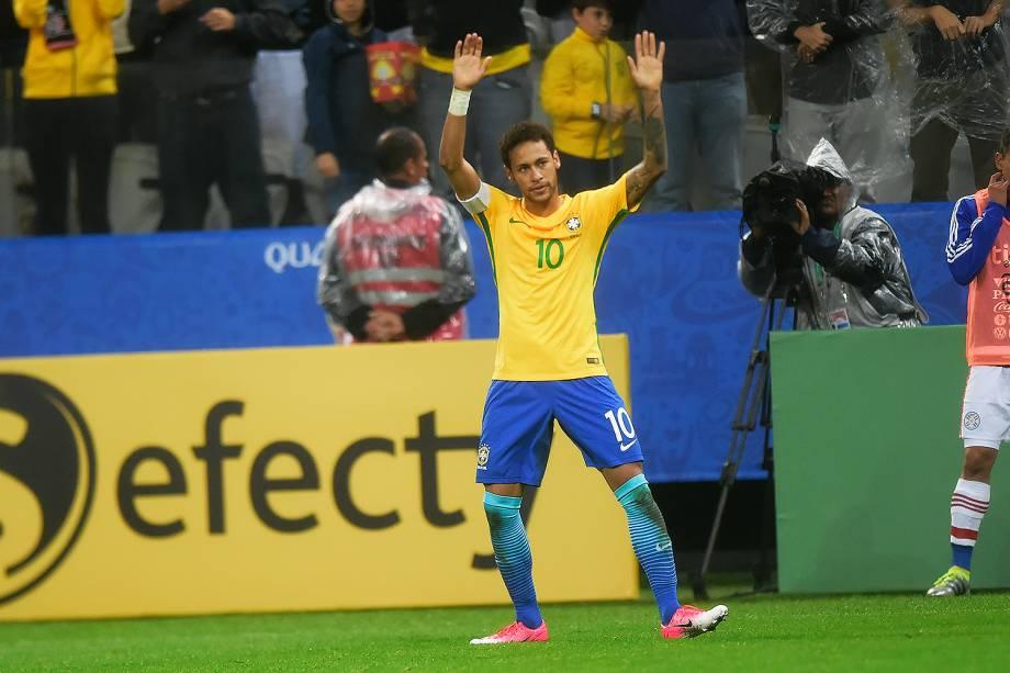 Neymar comemora o gol durante partida entre Brasil e Paraguai válida pela 14ª rodada das Eliminatórias da Copa do Mundo Rússia 2018, na Arena Itaquera, em São Paulo - 28/03/2017