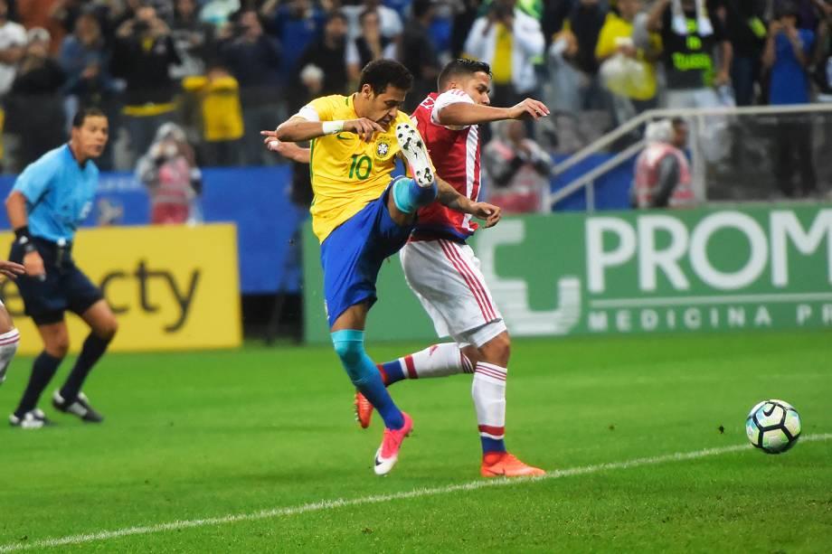 Penalty em Neymar durante partida entre Brasil e Paraguai válida pela 14ª rodada das Eliminatórias da Copa do Mundo Rússia 2018, na Arena Itaquera, em São Paulo - 28/03/2017