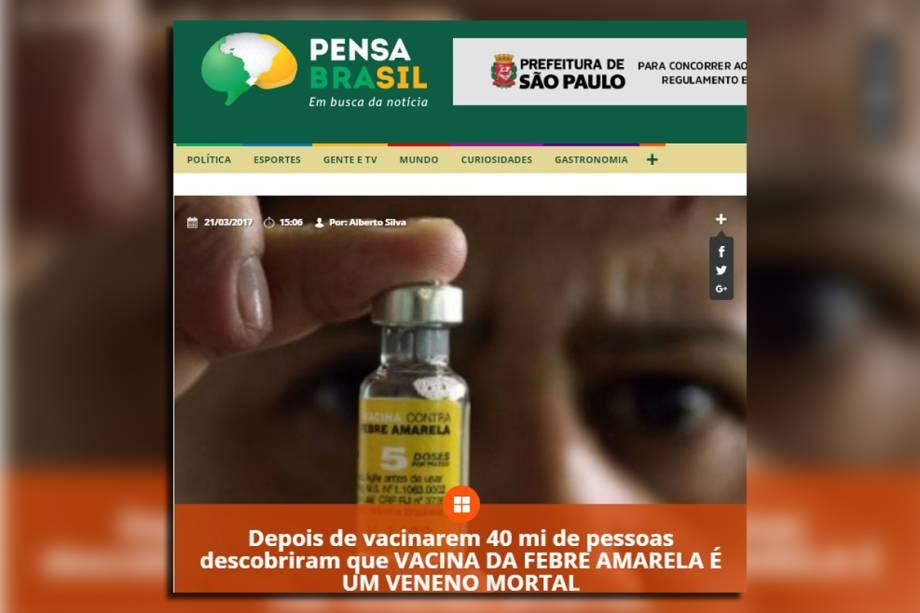 Notícia falsa sobre febre amarela