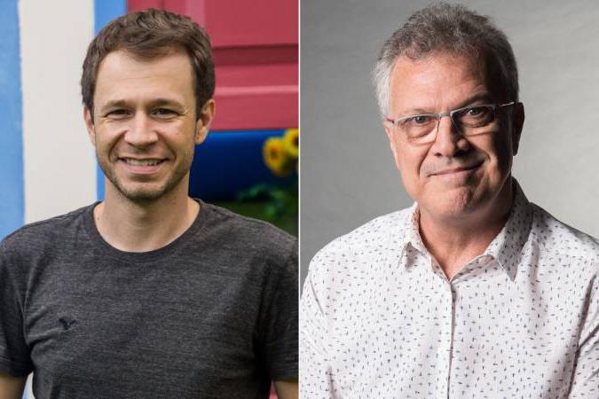 Tiago Leifert e Pedro Bial