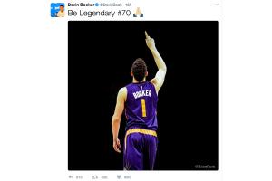 O jogador de basquete Devin Booker faz 70 pontos em jogo pelo Phoenix Suns contra o Boston Celtics com apenas 20 anos de idade