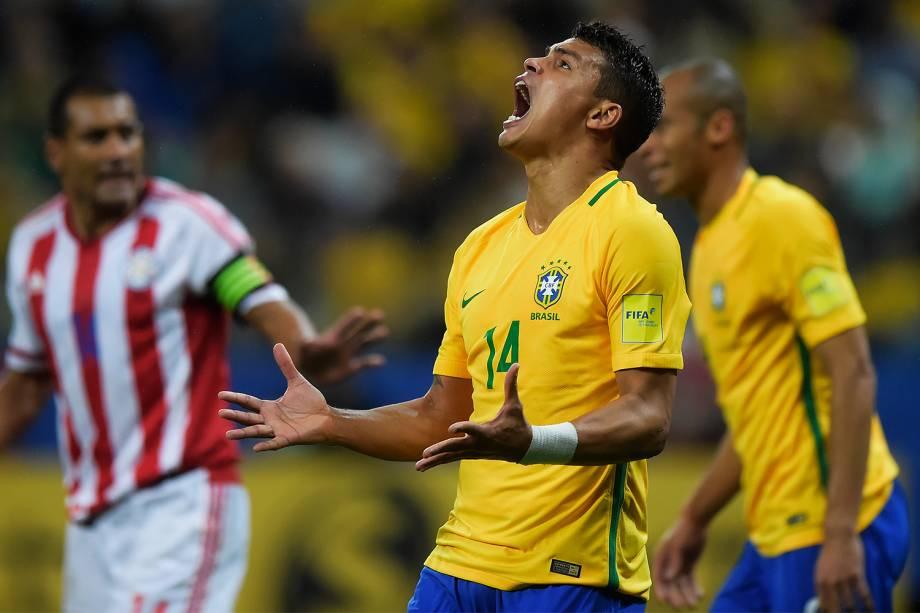 Thiago Silva durante partida entre Brasil e Paraguai válida pela 14ª rodada das Eliminatórias da Copa do Mundo Rússia 2018, na Arena Itaquera, em São Paulo - 28/03/2017