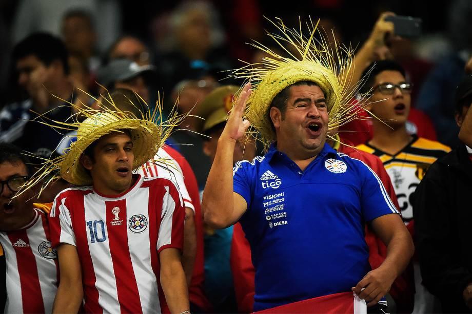 Torcida do Paraguai durante partida válida pela 14ª rodada das Eliminatórias Sul-Americanas, classificatória para a Copa do Mundo FIFA 2018, realizado na Arena Itaquera, zona leste de São Paulo