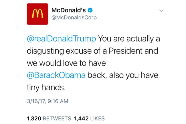 Tweet do McDonald's