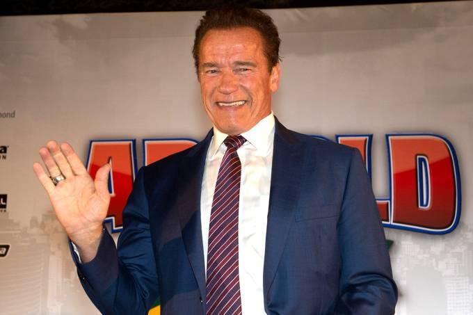 Coletiva com Arnold Schwarzenegger no Hotel Transamérica em São Paulo
