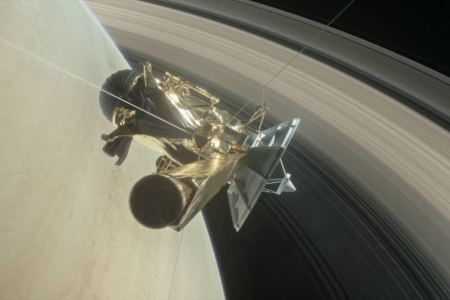 """<p style=""""text-align:justify;"""">Após 13 anos explorando Saturno, seus anéis e suas luas, a sonda Cassini terminou sua missão com um mergulho histórico em direção à atmosfera do gigante gasoso em setembro. A nave foi responsável por algumas das descobertas científicas mais importantes do século XXI, como a existência de água líquida na superfície das luas Titã e Encélado – o que leva à possibilidade de encontrar vida fora da Terra.</p>"""