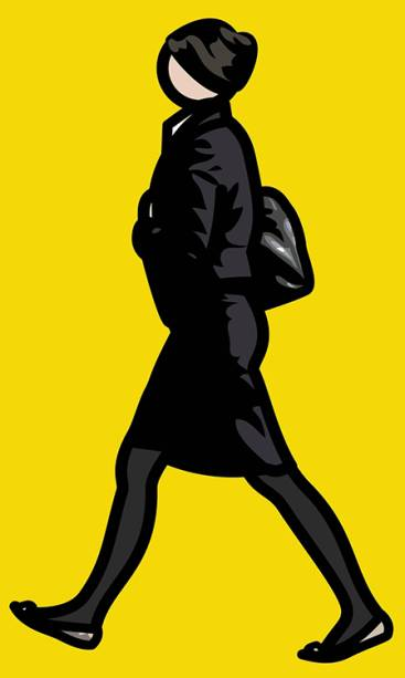 5. Julian Opie. Mulher em terno preto e calça com malas (Woman in black suit and tights with bag). 2012. Vinil. 217 X 133 CM
