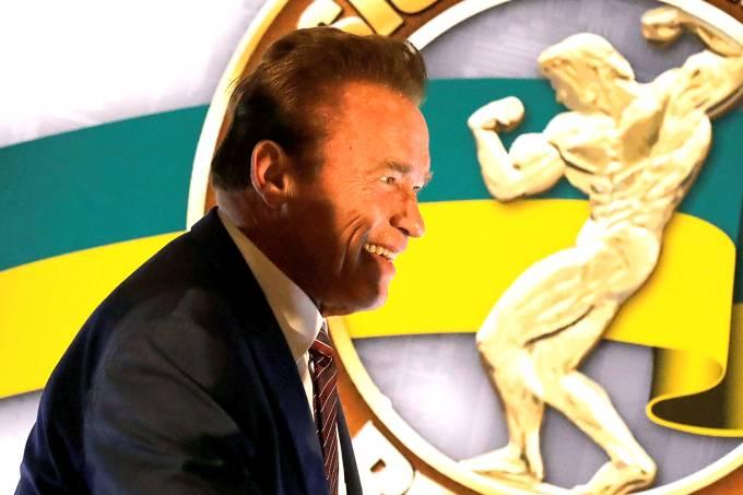 Arnold Schwarzenegger durante o evento Arnold Classic South America em São Paulo