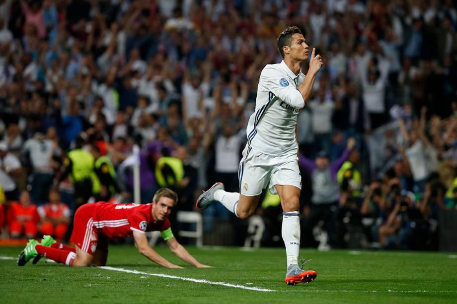 Cristiano Ronaldo, do Real Madrid, comemora gol contra o Bayern de Munique
