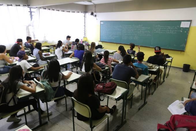 Sala de aula da E.E. Antônio Vieira de Souza, em Guarulhos (SP)