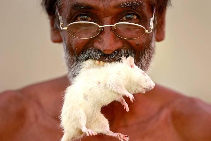 Fazendeiro na Índia protesta com rato na boca