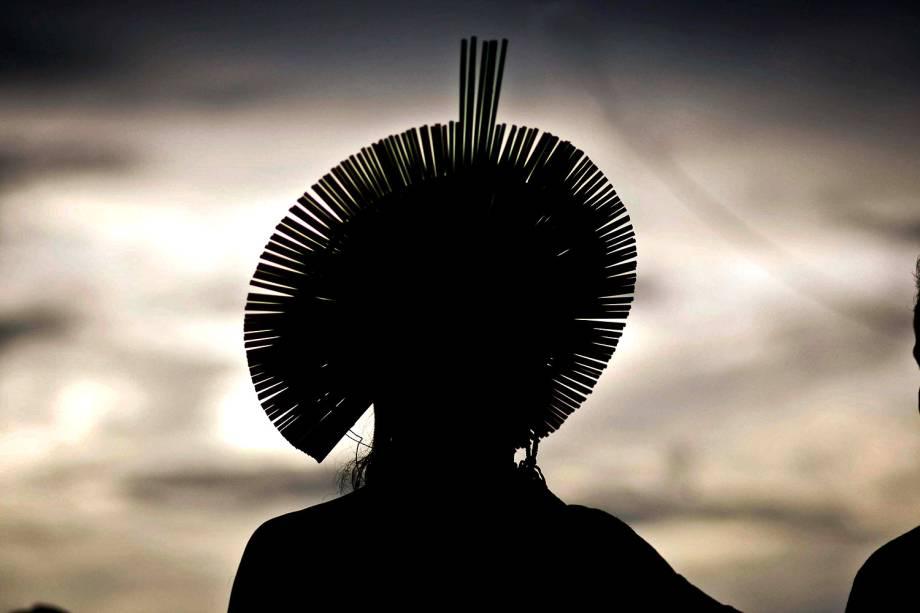 Indígena participa da Semana dos Povos Indígenas, que começou no sábado (15) e termina estaquarta-feira (19), no Dia do Índio, em São Félix do Xingu, Pará