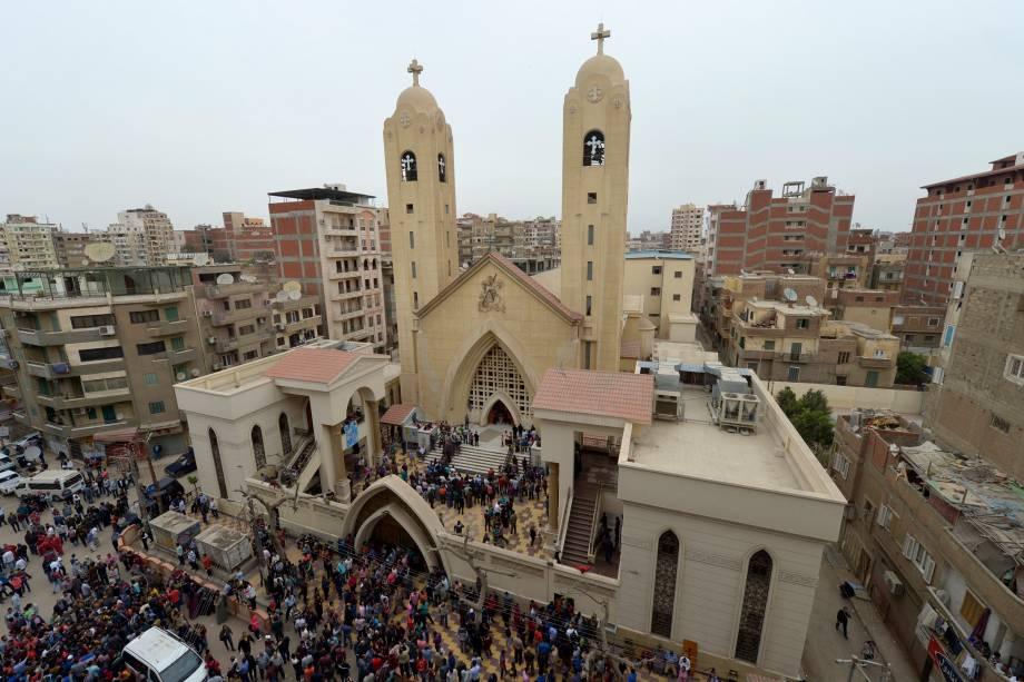 Vista geral da igreja copta Mar Girgis, na cidade de Tanta, ao norte do Cairo, no Egito. Um atentado a bomba atingiu fiéis que celebravam o Domingo de Ramos no local - 09/04/2017