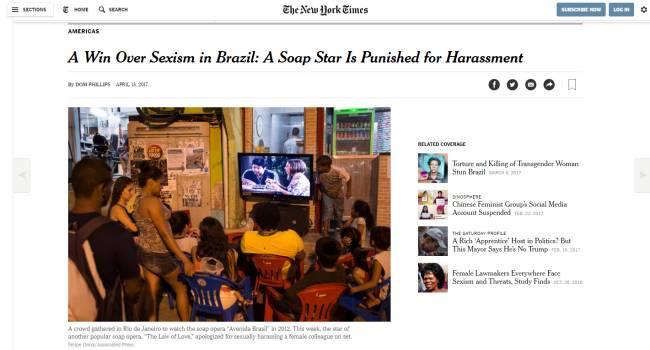 Reportagem do NYT: 'Uma vitória contra o sexismo no Brasil: astro de novela é punido por assédio'