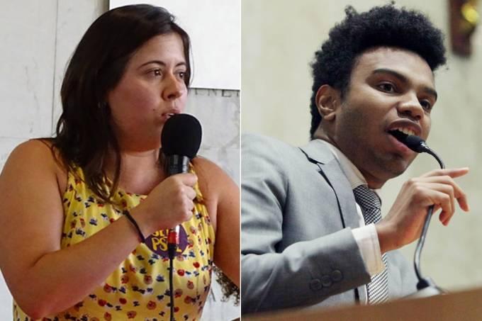 Os vereadores Sâmia Bonfim (PSOL) e Fernando Holiday (DEM)