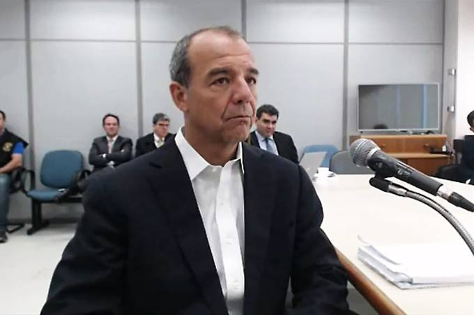 Sérgio Cabral em depoimento para o juiz Sérgio Moro