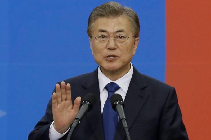 Moon Jae-in, presidente da Coreia do Sul, em juramento