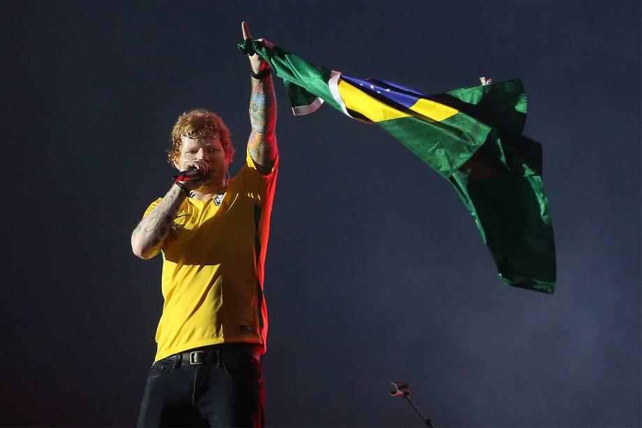 """Ed Sheeran durante a turnê """"Divide Tour"""" no Allianz Parque em São Paulo - 28/05/2017"""