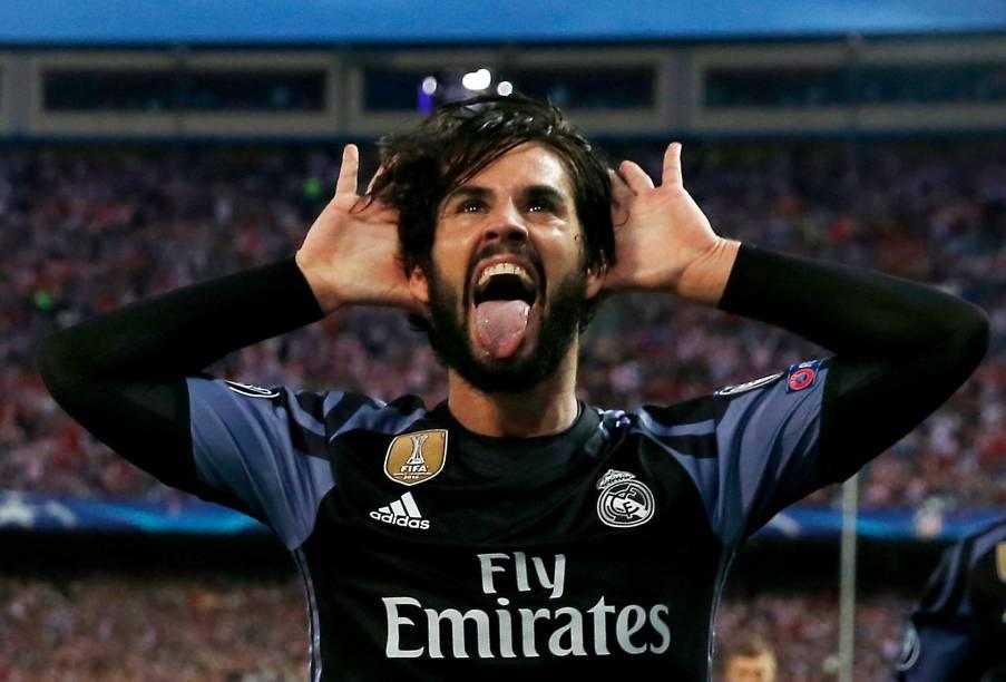 Isco comemora primeiro gol do Real Madrid contra o Atlético de Madrid