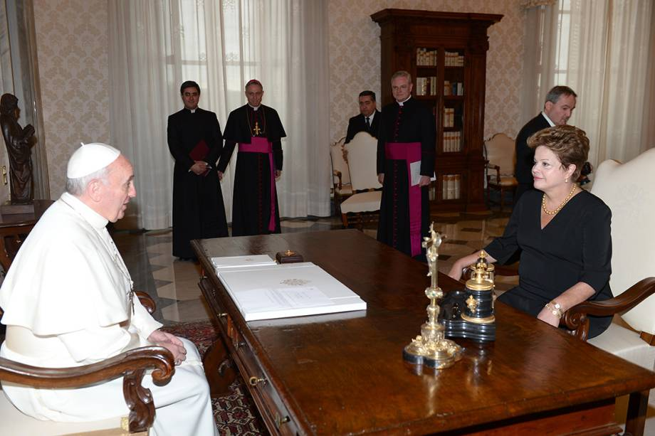 A presidente Dilma Rousseff durante audiência com o Papa Francisco, no Vaticano - 20/03/2013
