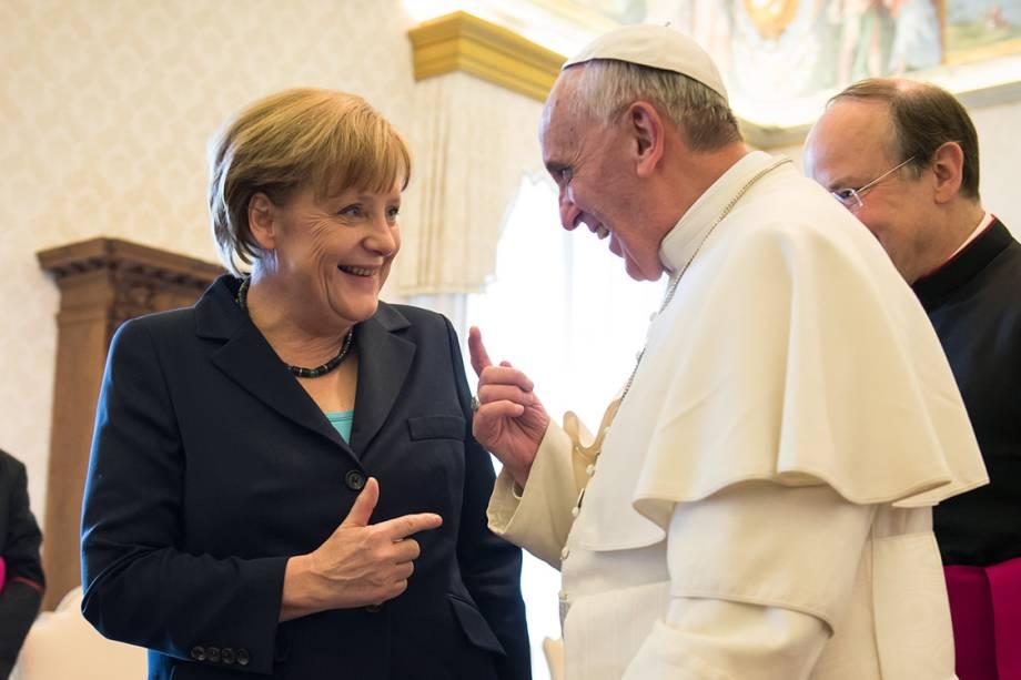 A chanceler alemã, Angela Merkel, durante audiência com o Papa Francisco, no Vaticano - 18/05/2013