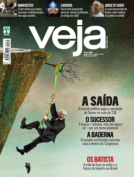 CAPA DE MAIO - Dias depois da bombástica delação de Joesley Batista, VEJA retratou a situação política: Temer estava à beira do abismo, situação que ele agora reverteu
