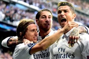 Cristiano Ronaldo comemora gol contra o Club Atletico de Madrid - 02/05/2017