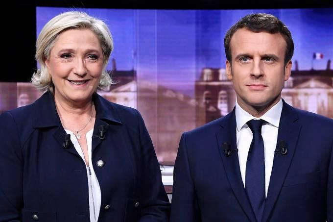 Debate presidencial entre Marine Le Pen e Emmanuel Macron