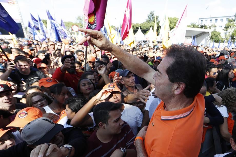 O deputado federal Paulinho da Força participa de evento do Dia Internacional do Trabalho, promovido pela Força Sindical, em São Paulo