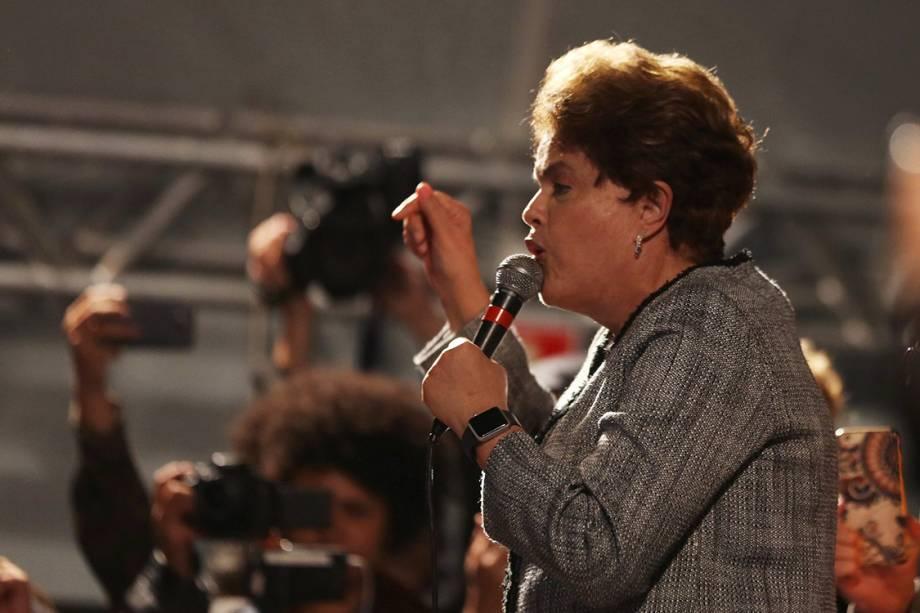 A ex-presidente Dilma faz discurso após o Depoimento de Lula ao juiz Sérgio Moro