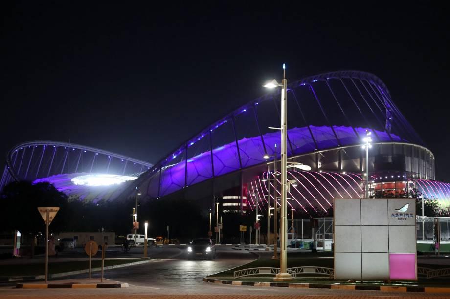 Vista exterior do Estádio Internacional Khalifa em Doha,no Catar