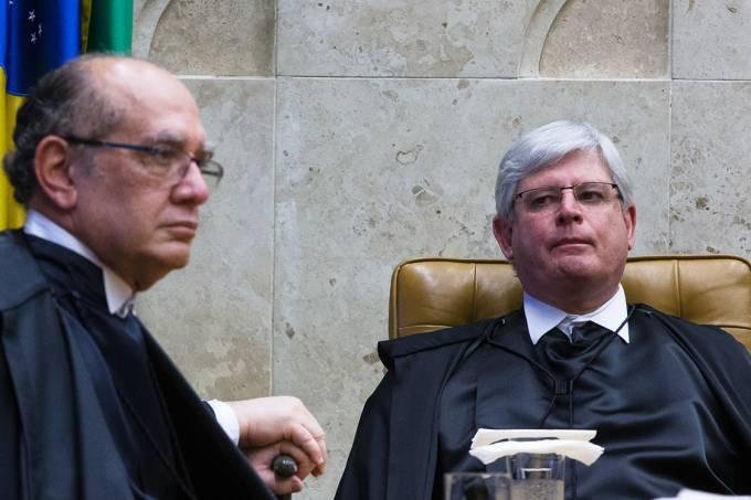 O Ministro do STF, Gilmar Mendes, e o Procurador Geral da República, Rodrigo Janot