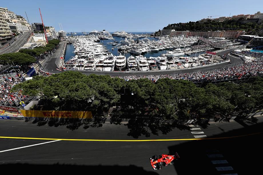 O finlandês Kimi Raikkonen, da Ferrari, durante o GP de Mônaco