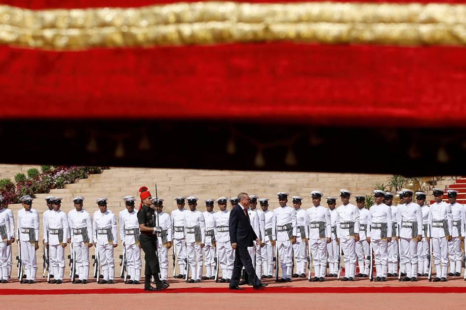 O presidente da Turquia, Tayyip Erdogan, durante recepção no Palácio Presidecial Rashtrapati Bhavan, na Índia
