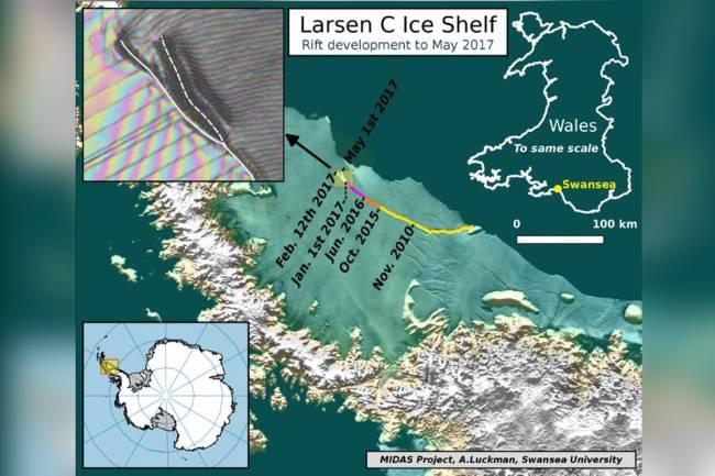 Aumento da fissura na plataforma Larsen C