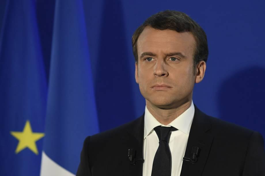 Emmanuel Macron, presidente eleito da França, discursa na sede da sua campanha após os primeiros resultados do segundo turno das eleições presidenciais em Paris - 07/05/2017