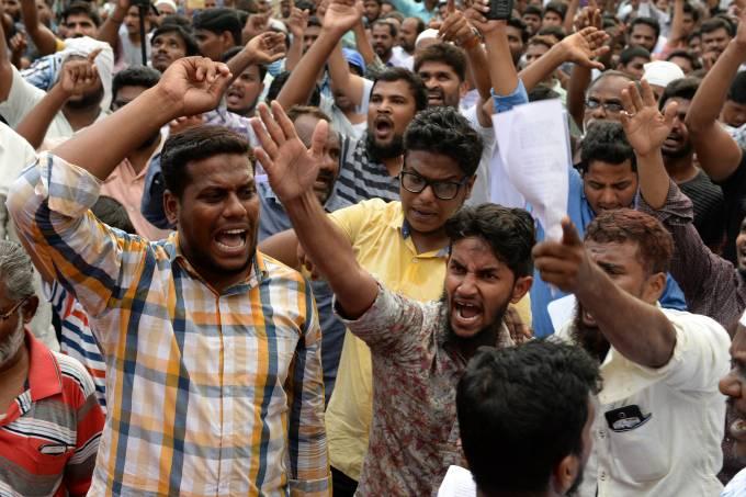 Protesto contra restrições à venda de carne bovina na Índia