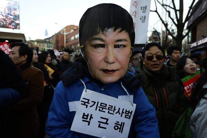 Manifestação contra ex-presidente da Coreia do Sul