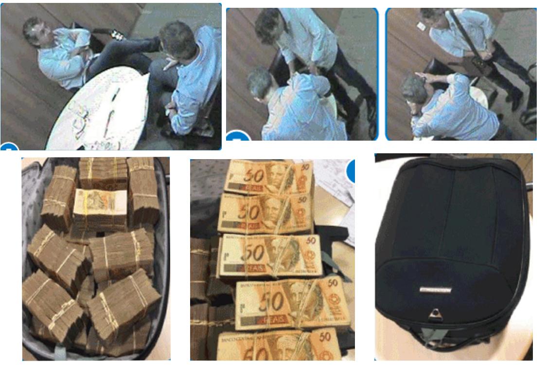 Esquerda em cima: Ricardo Saud e Fred conversam antes da entrega da propina. A mala continha 500 mil reais em espécie.