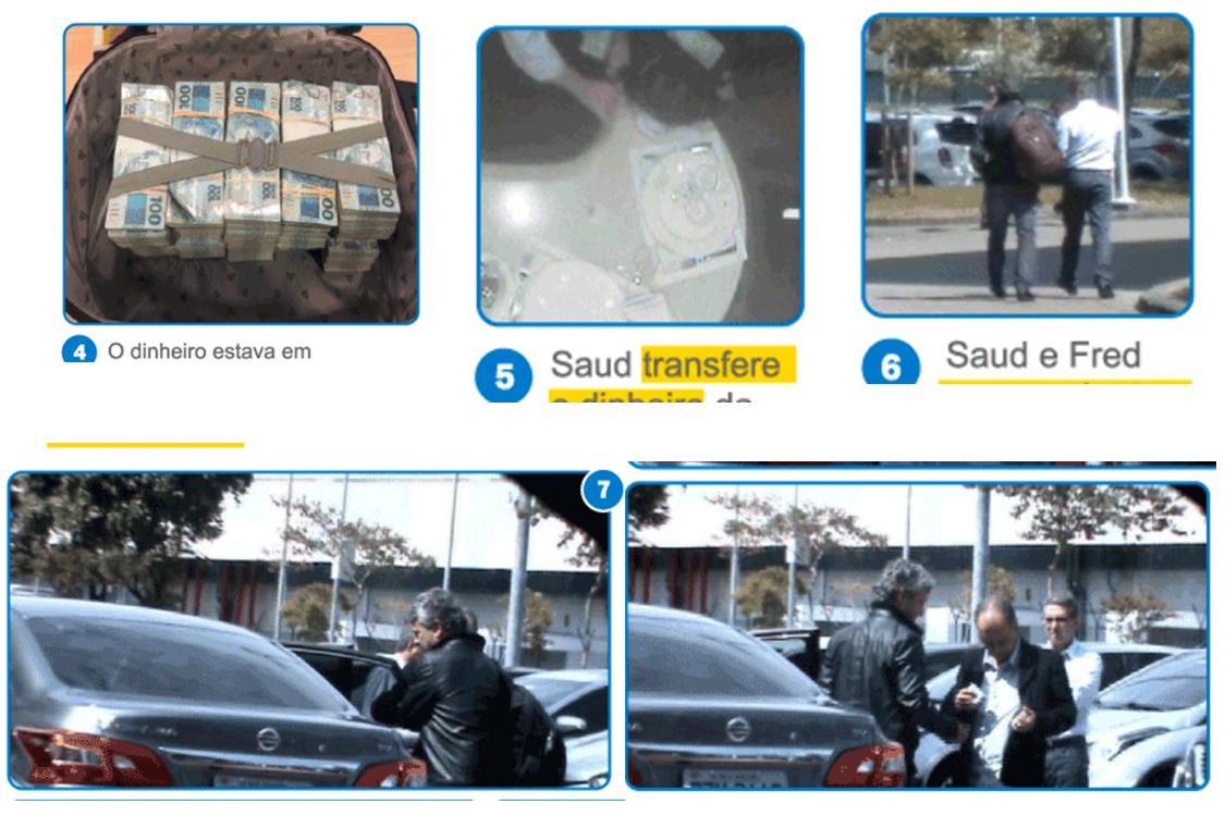 Saud coloca a mala com 500 mil reais em cima da mesa em que almoçam. Fred transfere o dinheiro da mala para uma mochila e os dois seguem para o estacionamento, se despedindo