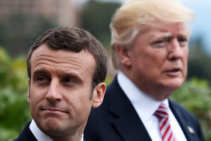 O presidente dos EUA, Donald Trump, e o presidente francês, Emmanuel Macron durante a cúpula do G7